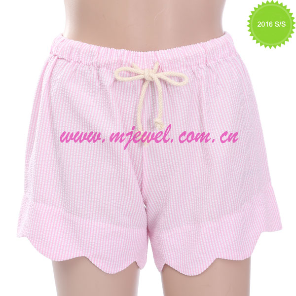Factory wholesale monogrammed scalloped seersucker shorts