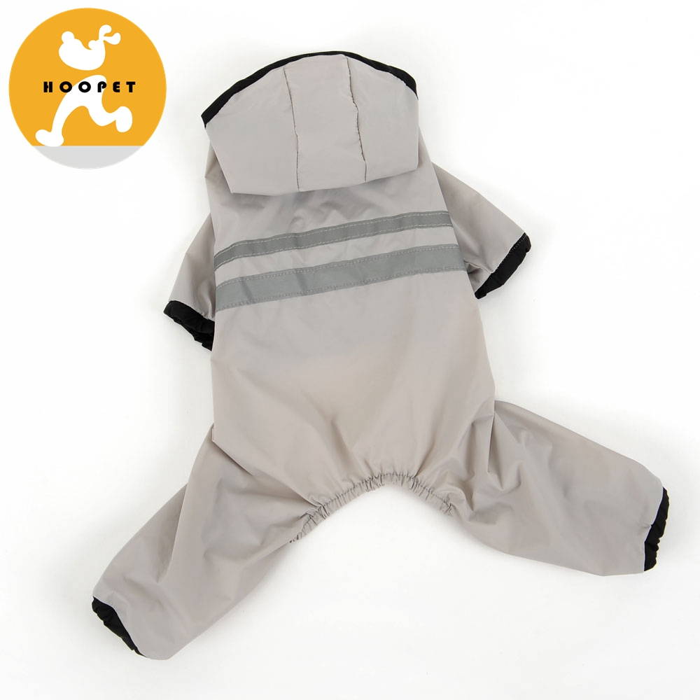 raincoat Waterproof Dog Clothes Pet Hood Clothing with Hat Gray pet apparel supplier