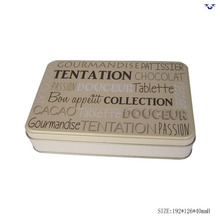 Most popular rectangle shape metal biscuit tin box with hinged