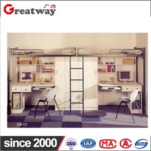 Factory supply high qualit metal simple rectangle space saving furniture adult bunk bed