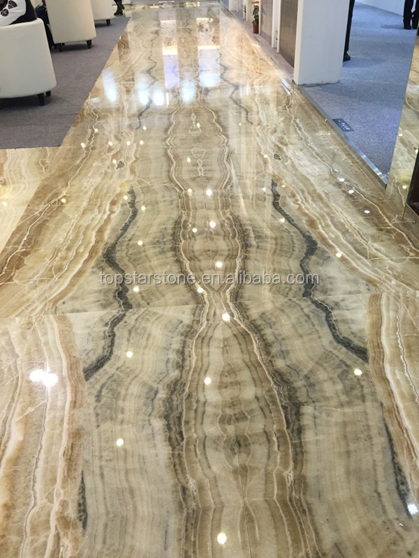 Polished Straight Line Yellow Onyx Marble Indoor Floor
