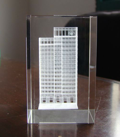 2014 3d laser etched glass cube for Souvenir Gifts