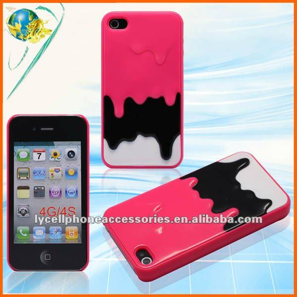 2012 New! PC skin cover For Iphone 4G 4S hard case with milk ice cream pattern