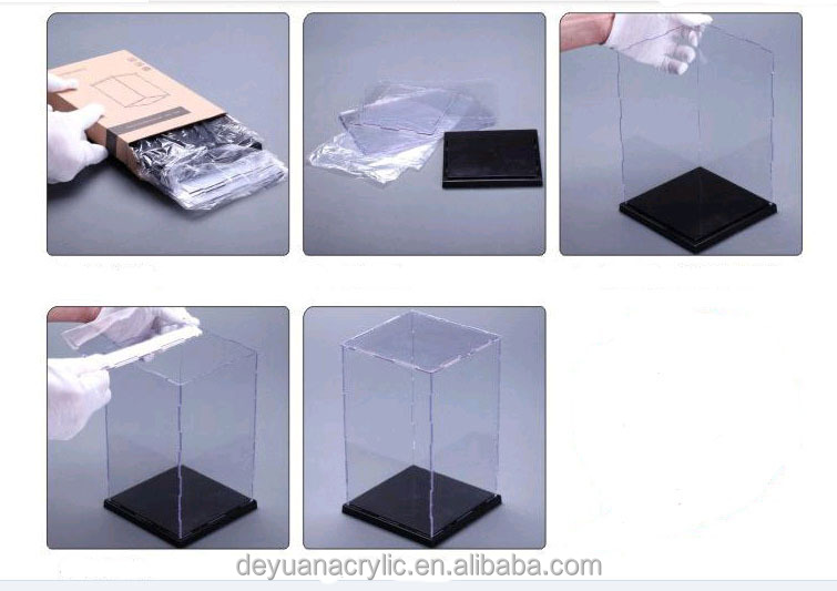 High Clear Custom Sizes Flat Packed Acrylic Display Case