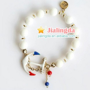 Candygirl brand fashion lady jewelry accessories charm custom bangle women bead anchor bracelet