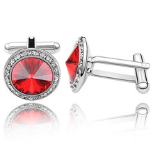 Delicate Crystal Cufflink In Stylish Simplicity, Rhodium Plated For Women Shirt