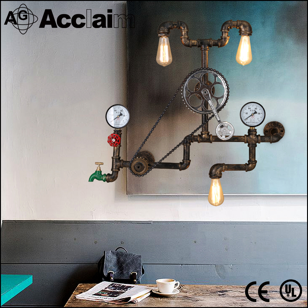 Bicycle wheel wall lamps retro vintage round wall sconce industrial vintage light