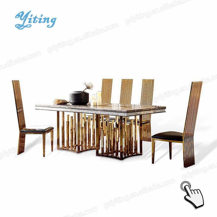 High back hotel chairs stainess steel metal marble dining tables set