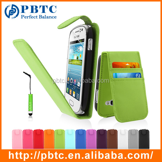 Set Screen Protector Stylus And Case For Samsung Galaxy Fame S6810 , Green PU Leather Mobile Phone Card Slot Case