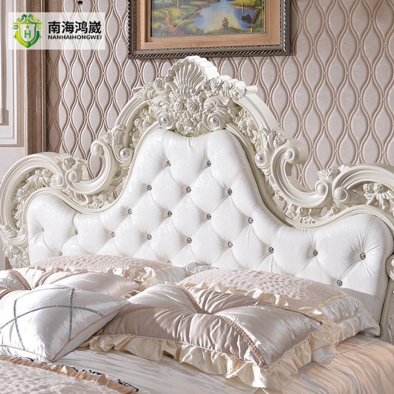 De luxe fran ais baroque style sellerie en cuir blanc sculpt rose t te de lit king size lit lit - Tete de lit king size ...