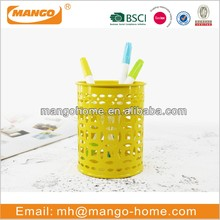 Yellow powder coating metal pen holder
