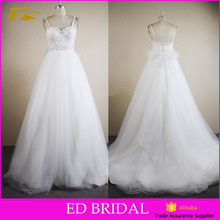 Custom Made Sweetheart Neckline Straps Lace Top Bow Online Cheap Simple Wedding Dresses