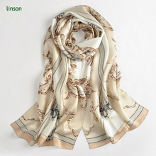 Fashion custom autumn winter plant printed shawl satin silk scarf
