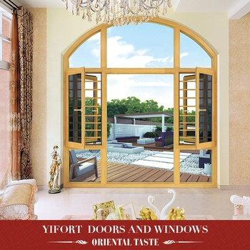decorative aluminium double glazed arch top casement window