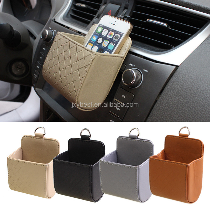 Tool case factory supply car air vent leather hanging holder bag for mobile phones storage bag for small kits