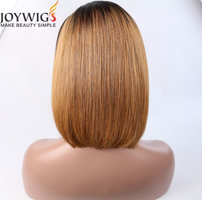 Bob style ombre color cuticle aligned hair lace front wig brazilian human hair