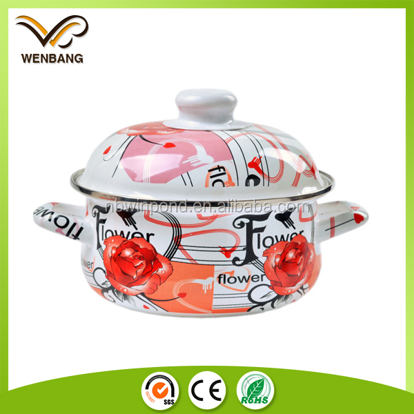 Carbon steel enamel casserole cookware set customized color printed giken cookware