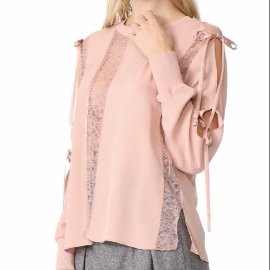 QiBao pink Women Clothing Long Sleeve Cotton Women Lace Tops