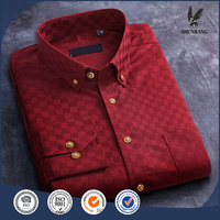 Plain dyed solid color cotton/polyester long sleeve check men's dress shirts