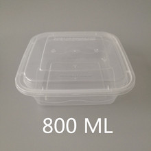 Accept Custom Order Square Black Plastic Recyclable Disposable PP Packaging Airtight Lid Small Plastic Food Container