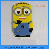 hot selling cheap price minion 3d silicone cover case despicable me minion case for LG G3(PT-LG3208)