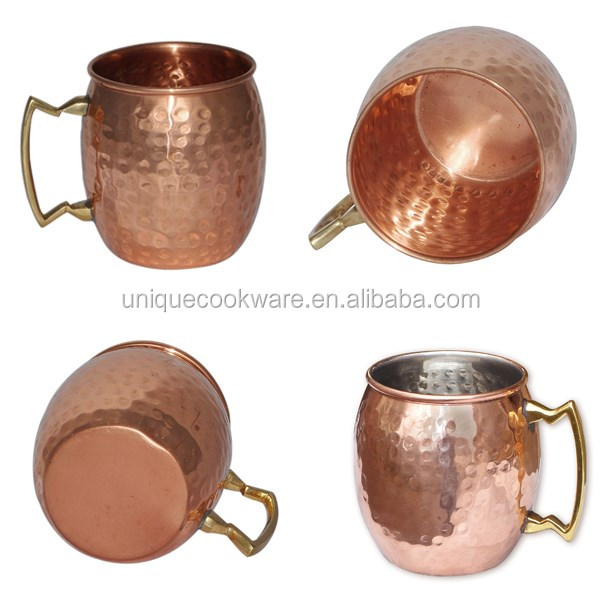 Handmade 16 Oz Premium Moscow Mule Copper Mug 100% Pure Copper Mugs with Pointed Handle