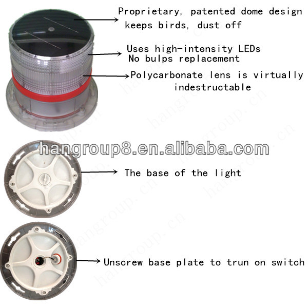 Solar powered aviation obstruction light ( Airport,Runway, Coast,Beacon,Heliport ,Ship,Buoy )