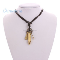 Fashion design leather strap necklace alloy pendant necklace wholesale cheap jewelry made in china