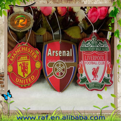Famous football team hanging paper air fresheners for household and commercial promotion