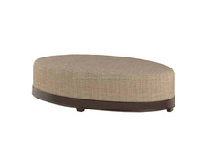 Over -sized Black Fabric Round Leather Storage Pouf Ottoman