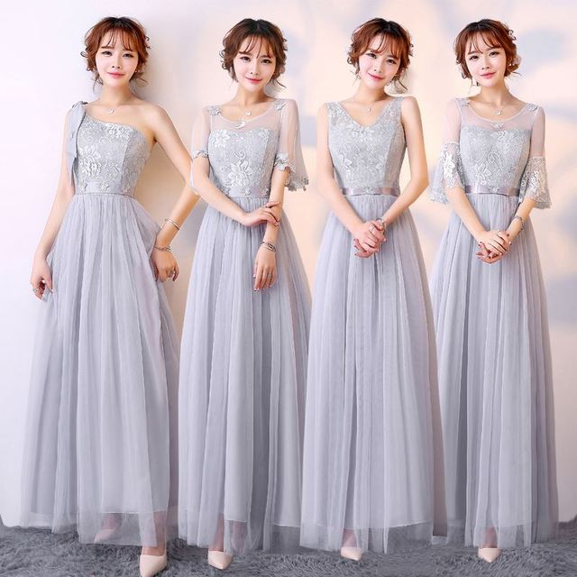 long dress paragraph Lady shoulder bridesmaid dress and wedding bridesmaid