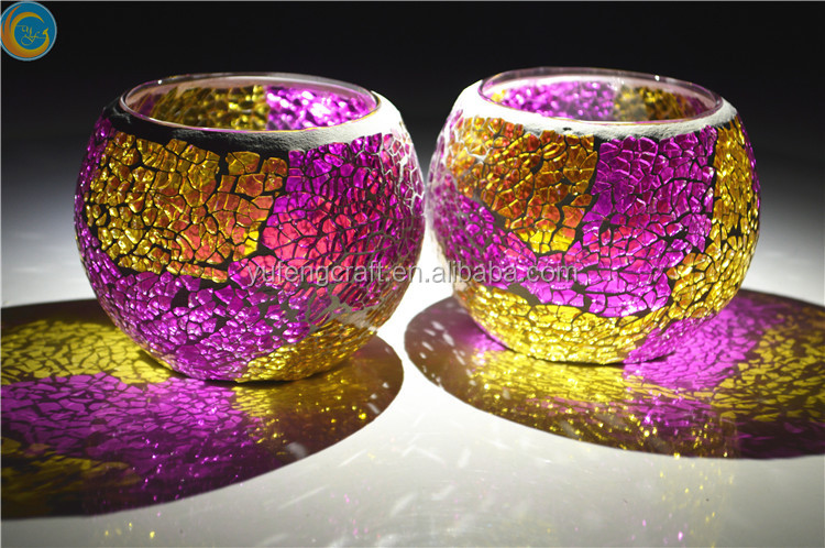 pastel red colorful round mosaic glass candle holders for Christmas tealight holders