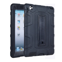 Black oil injection PC+ Silicon protective Case for iPad 2 3 4Case