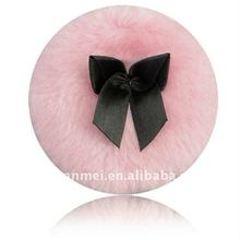 pink power puff cosmetic plush puff with silk ribbon long hair puff