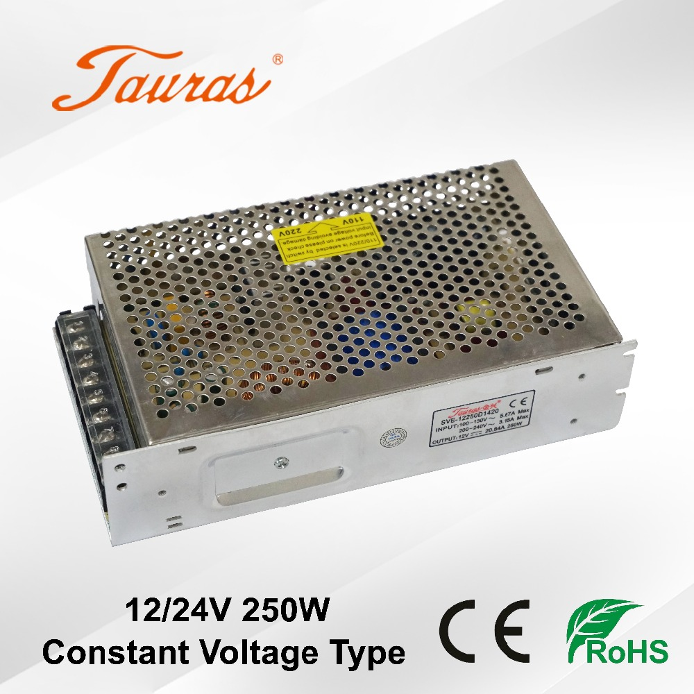 CE RoHS 12V/24V 250W constant voltage indoor led switching power supply driver