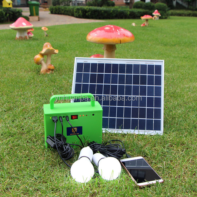 10w solar panel mini camping solar power system with mobile phone charger