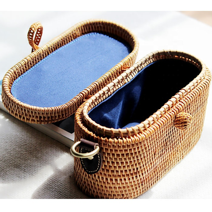 Handmade Summer Square Rattan Bag Weave Straw Shoulder crossbody bags with leather handle