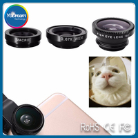 For mobile phone smartphone 3 in 1 plastic clip fresnel super wide angle camera lens 180 degree fisheye lens