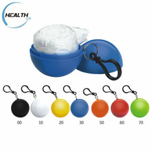 emergency disposable waterproof mini ball packed PE raincoat rain cape poncho with keychain for promotional gift