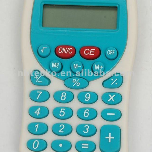 Desktop different colors plastic pocket electronic calculator with lanyard