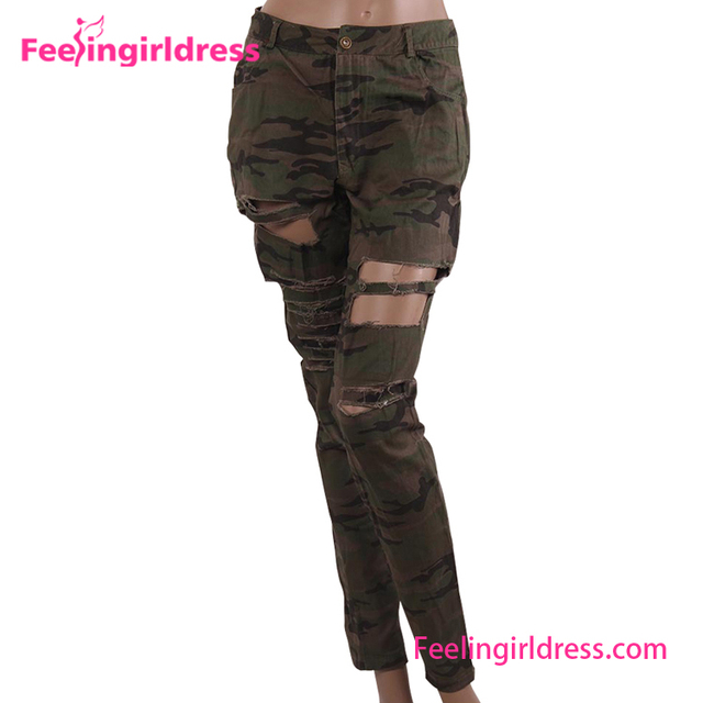 2017 Fashion Fast delivery Pants damaged camouflage jeans