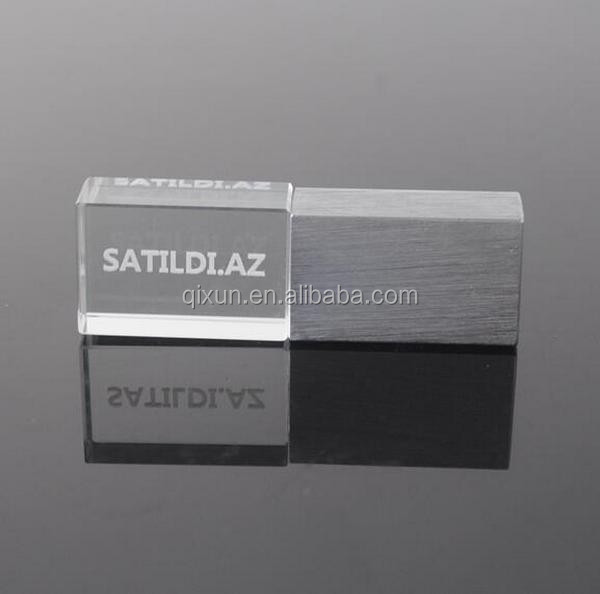 paypal acceptable crystal/glasses material laser engraved logo inside led light 8gb usb flash drives