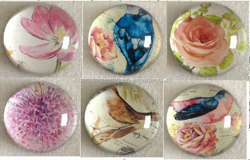 GLASS DOME PAPERWEIGHT W/ FLOWER IMAGE INSIDE