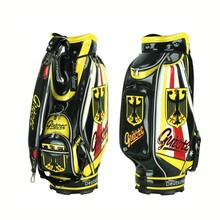 "Golf Cart Bags 10"" PU Leather Staff Bag Standard Ball Package Bag Rainhood German Flag Guiote 7-pocket"