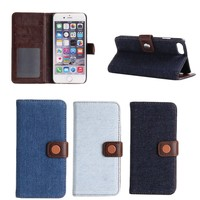 China supplier jeans pattern protective flip cover case for iphone 7 with card slot , for iphone7 case