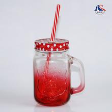 Wholesale 350ml Embossed Ice Cold Drink Glass Mason Jar With Handle Straw Lid