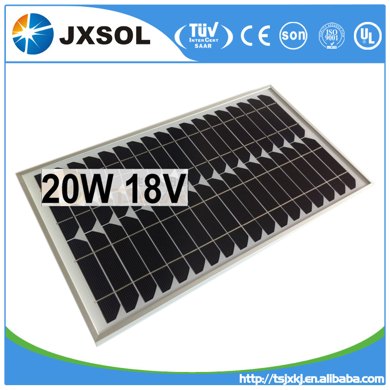 High efficiency monocrystalline photovoltaic cell solar panels 20 watt with TUV and CE certificates