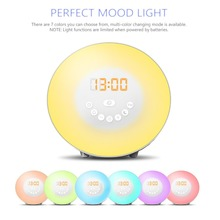 Sunrise simulator alarm clock LED wake up light with 6 natural sounds and FM radio