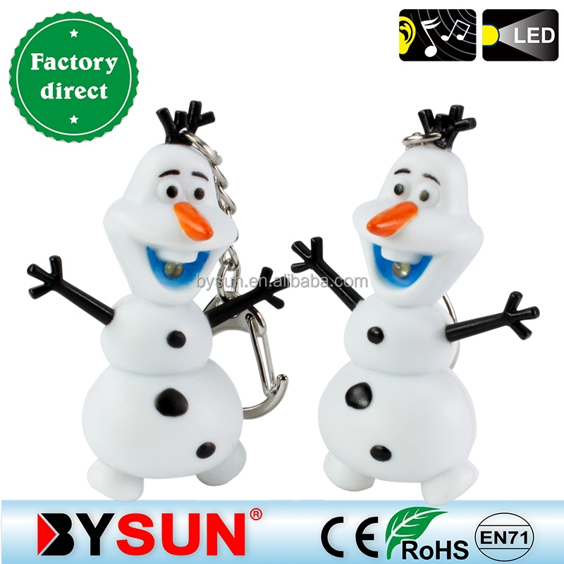 BS-005 new ABS 3D Frozen LED sound keychain