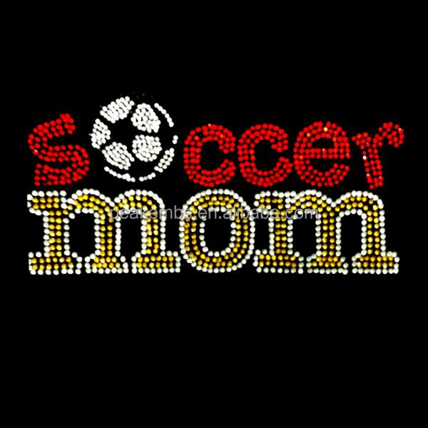 Soccer Mom Rhinestone and Rhinestuds Iron on Transfer Wholesale Heat Transfer T Shirts Transfer